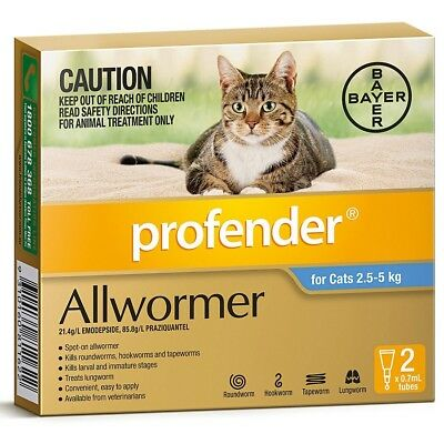 Profender Spot-on Allwormer for Cats 2.5kg to 5kg - Blue 2 Pack Cat All Wormer
