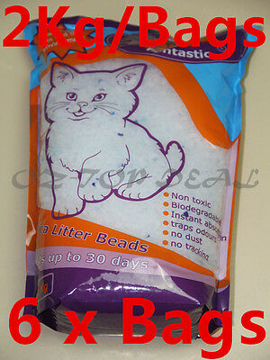 Pet cat Kitty 6 x 2 kg/Bags Odour Eliminating Silica Crystals Cat Litter Crystal