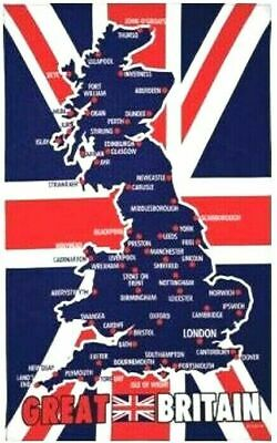 Great Britain Map Union Jack Flag Tea Towel United Kingdom Souvenir Gift UK GB