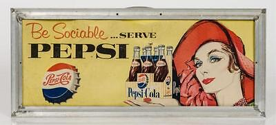 Two sided Pepsi cardboard sign in old frame- apprx