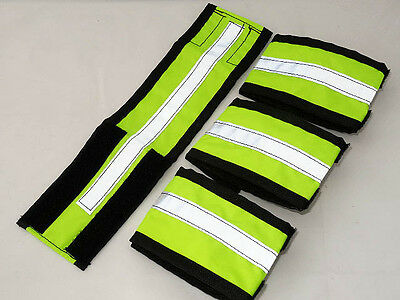 Fluorescent hi viz horse leg straps/bands - yellow or pink