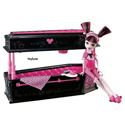 Monster High DEAD TIRED Draculaura Doll + JEWELRY BOX Coffin Bed Furniture Set!