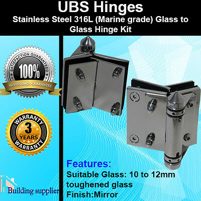 2 x Stainless Steel 316L Pool Gate frameless glass to glass Hinge Mirror Finish