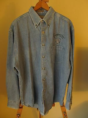 Vintage STARBUCKS Frappuccino Coffee Old Logo Denim Button Front LS Shirt- Sz L