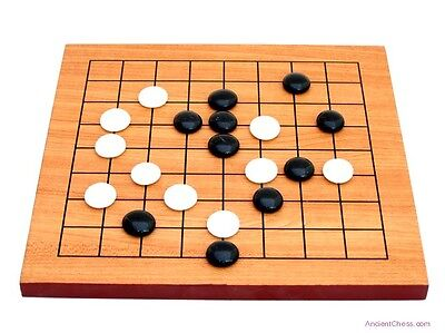 GO BOARD GAME, 9 X 9 STUDY SIZE BOARD WITH FULL SET & 19 X 19 MAT (WEIQI) (474)