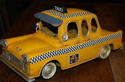 Vintage Style New TIN METAL Yellow Vehicle Truck Drivers checkered TAXI CAB