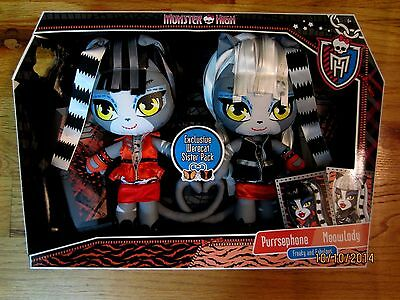 Monster High Meowlody and Purrsephone Werecat Sisters Soft Plush Set New in Box