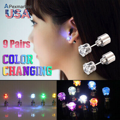 9 Pairs Pack Unisex Fashion Light Up LED Bling Ear Studs Earrings Dance Party