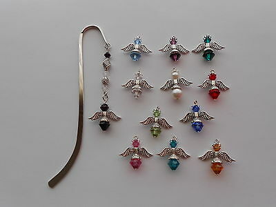 ANGEL WING BIRTHSTONE CHARM SILVER TONE SMOOTH HOOK CRYSTAL BEADS BOOKMARK x 1