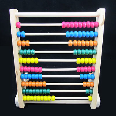 10-Row Wooden Wood Beads Abacus Counting Number Maths Educational Children Toy