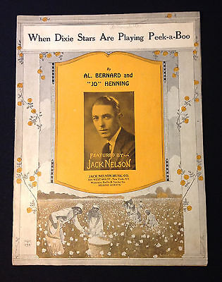 "Vintage Sheet Music ""When Dixie Stars Are Playing Peek-a-Boo"" (1927)"