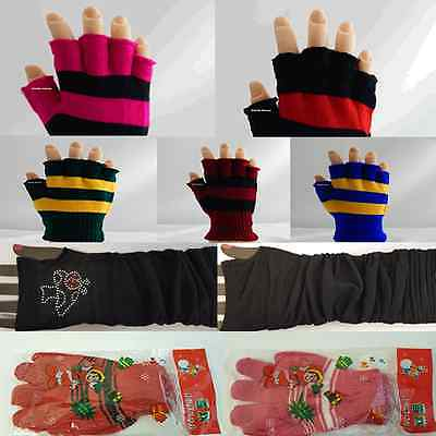 Kids Girls Boys Women Knitted Wooly Winter Warm Fingerless Gloves Diff Colour