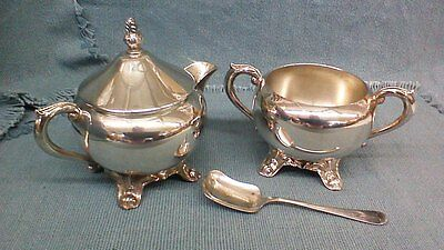 F B Rogers SilverPlated Sugar and Creamer set with EPNS Sugar Shovel, GUC
