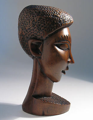 VINTAGE RETRO CIRCA 1960s HAND CARVED WOOD HEAD FIGURE SCULPTURE OF QUALITY VGC