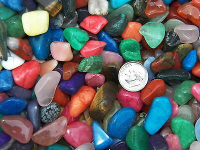 500 Carat Lots of Size #3 Tumbled Polished Gemstones + A FREE Faceted Gemstone