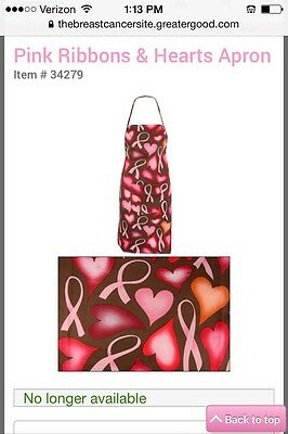 Pink Ribbons & Hearts Breast Cancer Awareness Apron
