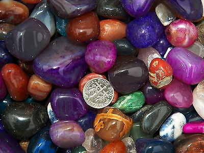 1000 Carat Lots of Size #5 Tumbled Polished Gemstones + A FREE Faceted Gemstone