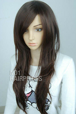 New Dark Brown Black Long Wavy Women's Wig Like Real Hair Heat Resistant 16 +Cap