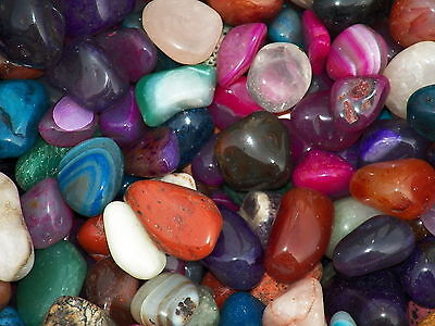 3000 Carat Lots of Size #6 Tumbled Polished Gemstones + A FREE Faceted Gemstone
