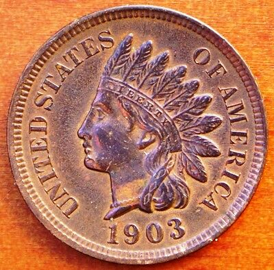 1903 Indian Head Cent gEF - Some Rainbow Toning