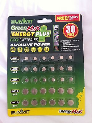 Cell Button Batteries 30 Piece Pack, Ag1/3/4/10//13. Assorted.