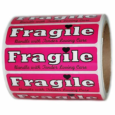 """Pink """"Fragile Handle with Tender Loving Care"""" Labels Stickers  1"""" by 4"""" - 500 ct"""