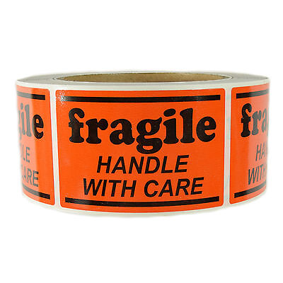 """Glossy Orange """"Fragile Handle with Care"""" Labels Stickers  2"""" by 3"""" - 500 ct Roll"""