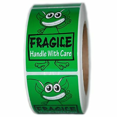 "Glossy Green Alien ""Fragile Handle with Care"" Labels Stickers- 3"" by 2"" - 500 ct"
