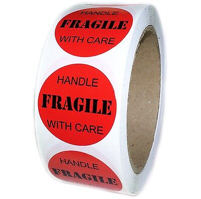 """Red """"FRAGILE Handle with Care"""" Labels Stickers - 1.5"""" diameter - 500 ct - SL019"""