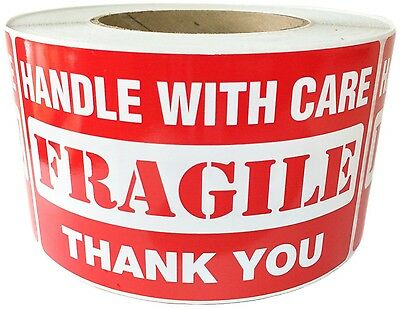 """Glossy Red """"Handle with Care FRAGILE Thank You"""" Labels Stickers 3"""" by 5""""  500 ct"""