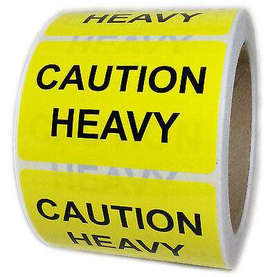"Glossy Yellow ""Caution Heavy"" Labels Stickers - 3"" by 2"" - 500 ct Roll"