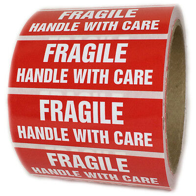 """Glossy Red """"Fragile Handle with Care"""" Labels Stickers - 1"""" by 3"""" - 500 ct Roll"""
