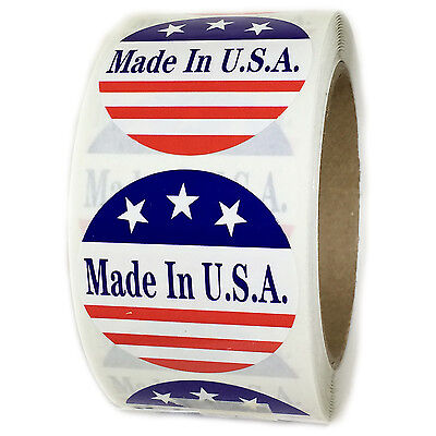 "Red, White and Blue ""Made in U.S.A."" 3 Stars Labels Stickers - 2"" diam - 500 ct"