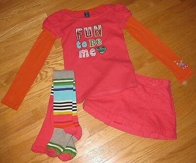 Gap 7 8 FUN TO BE ME top CORAL VELVET skirt STRIPED tights SET