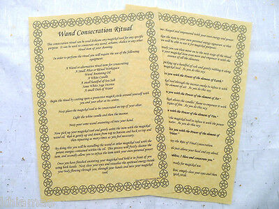 Wand Consecration Ritual A4 Parchment poster wicca pagan book of shadows BOS