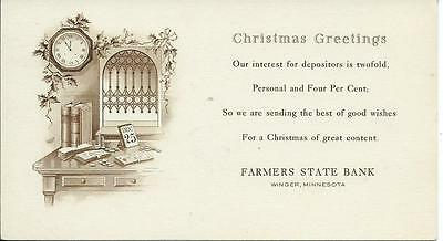 FARMERS STATE BANK - Winger, Minnesota - Complimentary Ink Blotter - Christmas