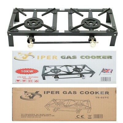 Double Cast Iron Gas Boiling Ring/Burner Catering/Stove/Camping/LPG/Prooane 10KW