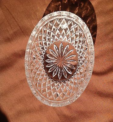 Small Oval Glass Bowl With Cut Diamond Sides And Starburst Bottom