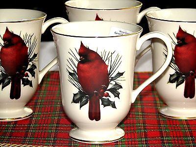 SET/6 Lenox Winter Greetings Catherine McClung Red Cardinal Footed Mugs NWT