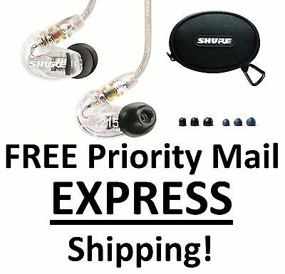 New Shure SE215-CL Clear Sound Isolating Earphones Earbuds In-Ear DJ Headphones!