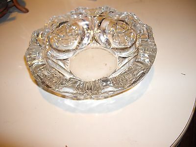Brilliant Lead Crystal Cigar Ashtray Intricate Laced Rose Cut - Gorgeous