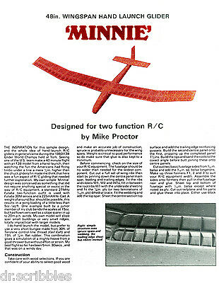 """RADIO CONTROL MODEL AIRPLANE  PLANS HAND LAUNCH 48"""" GILDER ARTICLE &  PLANS"""