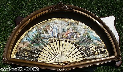 FAN EVENTAIL BEAUTIFUL  CARVED  STICKS  COW BONE AND PAINTED HAND FAN