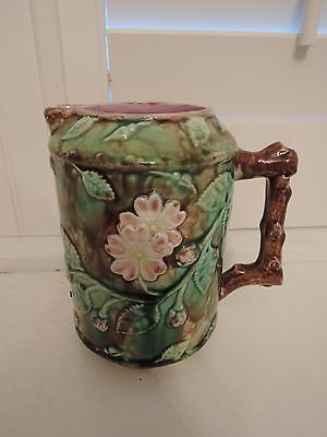 Antique Majolica Wild Roses & Leaves Branch Pitcher 1880's Pink Interior