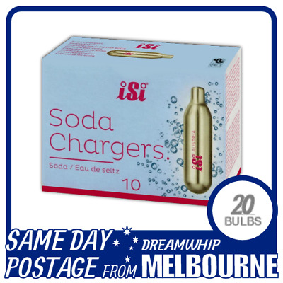 Same Day Postage Isi Soda Chargers 10 Pack X 2 (20 Bulbs) Syphon Co2 Seltzer