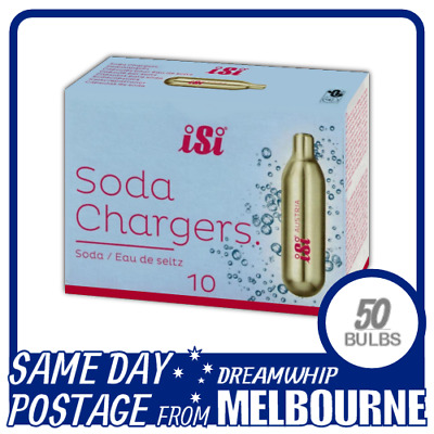 Same Day Postage Isi Soda Chargers 10 Pack X 5 (50 Bulbs) Syphon Co2 Seltzer