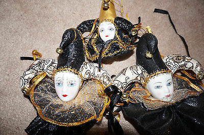2 L 1 S Collectible Black Gold New Orleans Clown Hat Painted Doll Head Ornaments