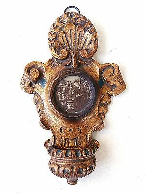 CARVED WOOD GILDED HOLY WATER FONT/BENITIER