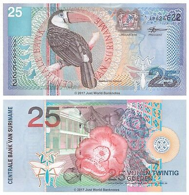 Suriname 25 Gulden 2000 P-148 Mint UNC Uncirculated Banknotes