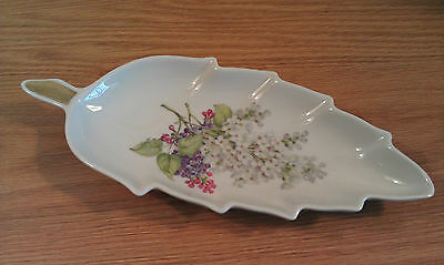 "10""L Porcelain Leaf Shaped Dish Lilac Floral by Mitterteich Bavaria Germany"